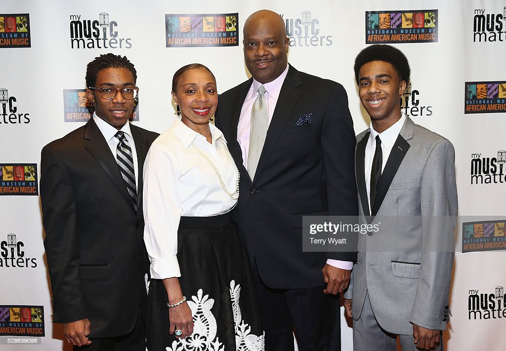 H. Beecher Hicks III, President & CEO at National Museum of African American Music (3R), Henry Hicks IV, Crystal Hicks and Harrison Hicks attend NMAAM's Celebration Of Legends Red Carpet And Luncheon on May 6, 2016 in Nashville, Tennessee.