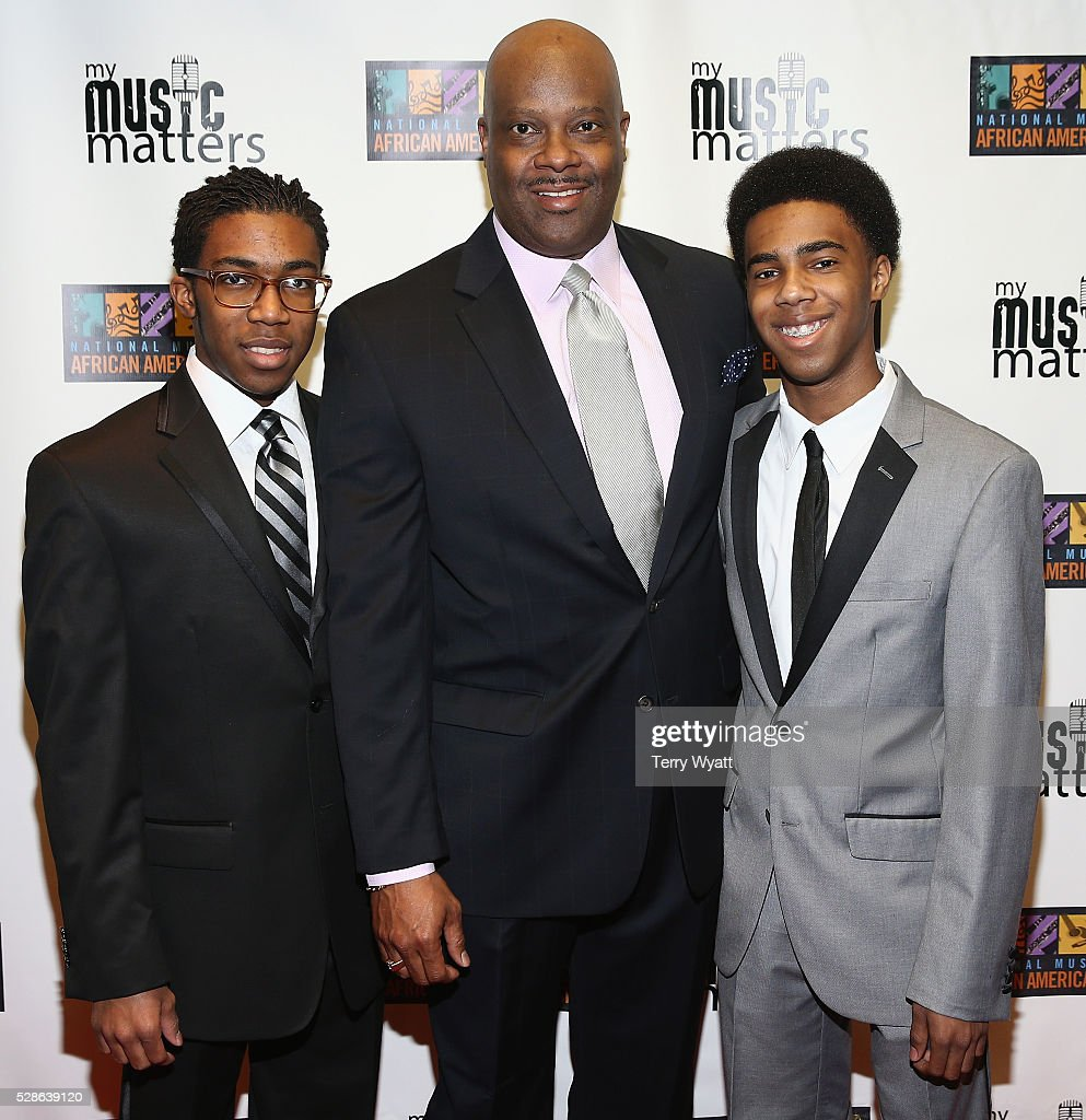 H. Beecher Hicks III, President & CEO at National Museum of African American Music (C), Henry Hicks IV, and Harrison Hicks attend NMAAM's Celebration Of Legends Red Carpet And Luncheon on May 6, 2016 in Nashville, Tennessee.