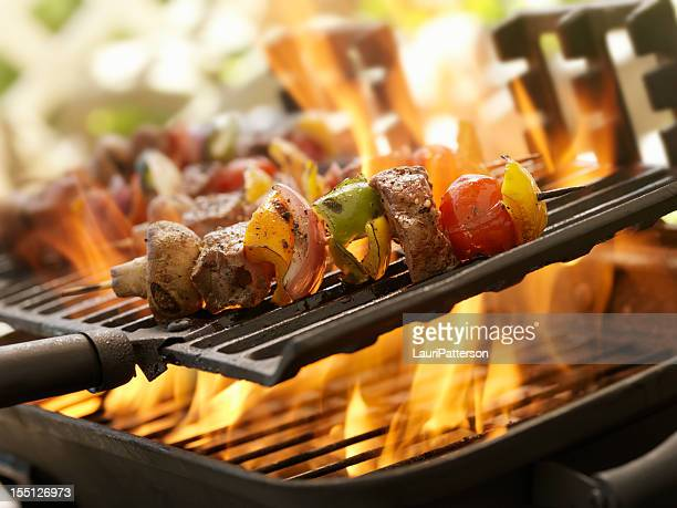 Beef and Vegetable Kabobs on a Outdoor BBQ