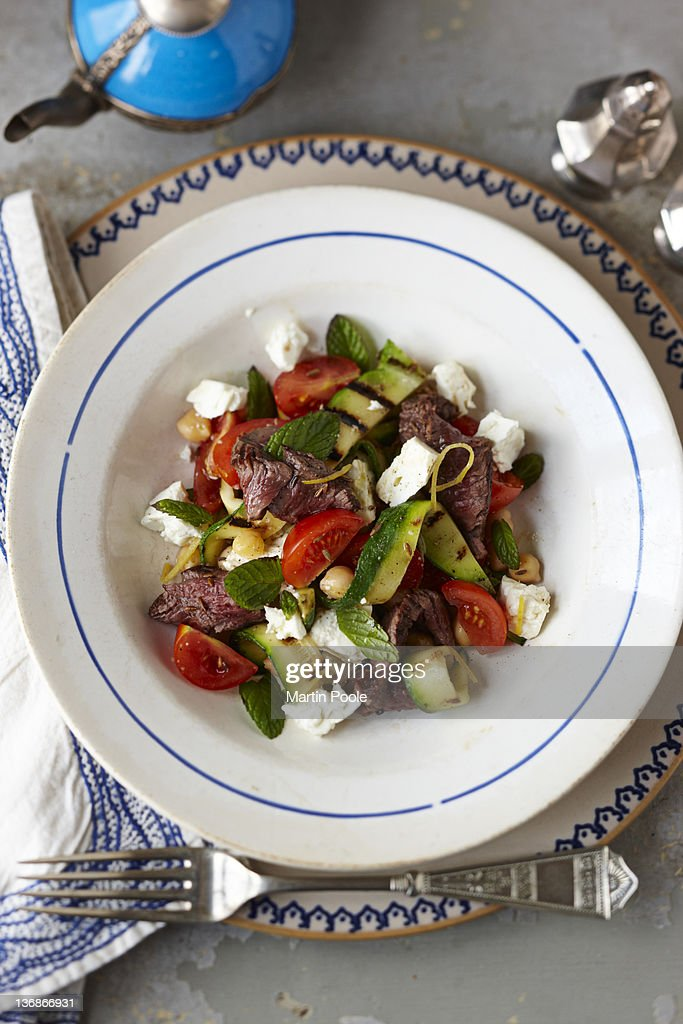 beef and zucchini feta  salad : Stock Photo