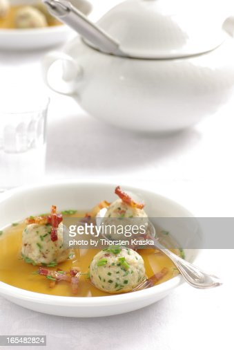 Beef bouillon with bacon dumplings (1/3) : Stock Photo