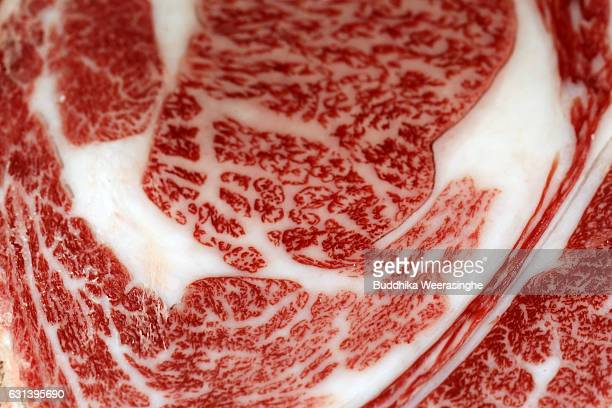 A beef carcass certified as Kobe beef pictured at the Kobe beef auction operated by Kobe Chuo Chikusan Niuke Ltd at the Western Kobe Wholesale market...