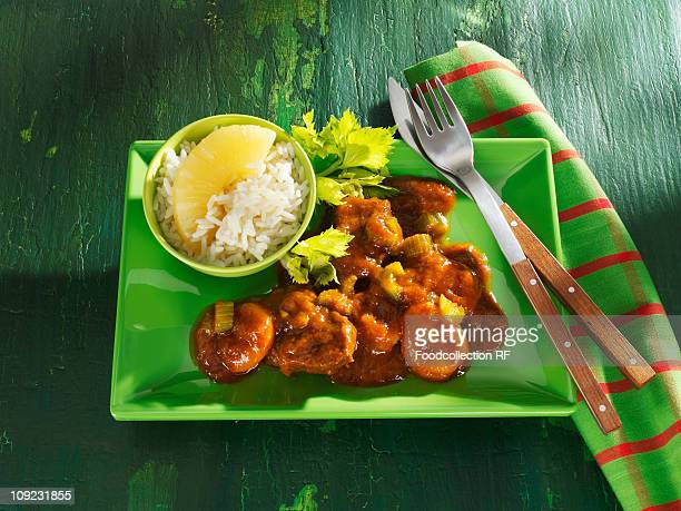 Beef goulash with celery and rice