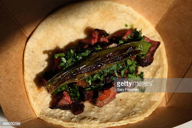 Beef hanger steak taco made by the Taco Maria truck It is owned by Carlos Salgado who has gained a cult following
