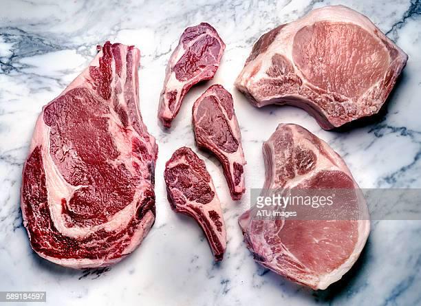 Beef lamb pork raw
