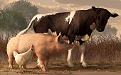 A brown and white cow, a pink pig, and a white chicken walk side by side in a barnyard.  These animals seem to be having a good time together. 3D Rendering