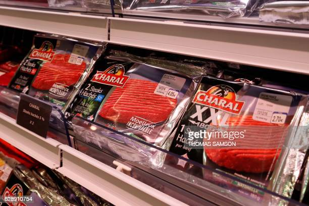 Beef products from the distributor Charal are pictured in the meat section of an hypermarket store of French retail giant Carrefour in...
