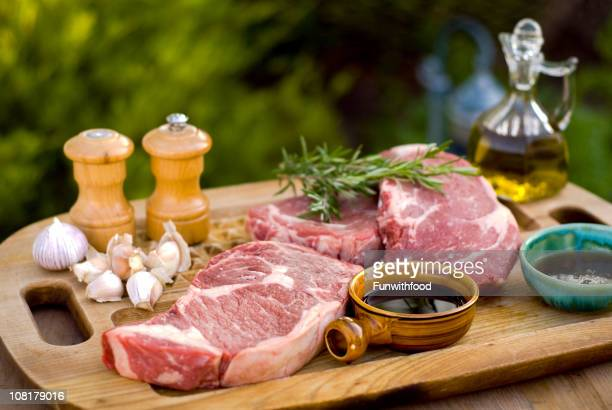 Beef Rib Eye Steaks, Fresh Raw Meat Marinade & Barbeque Cooking