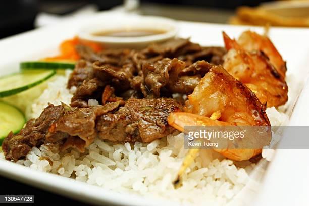 Beef & shrimp on coconut rice