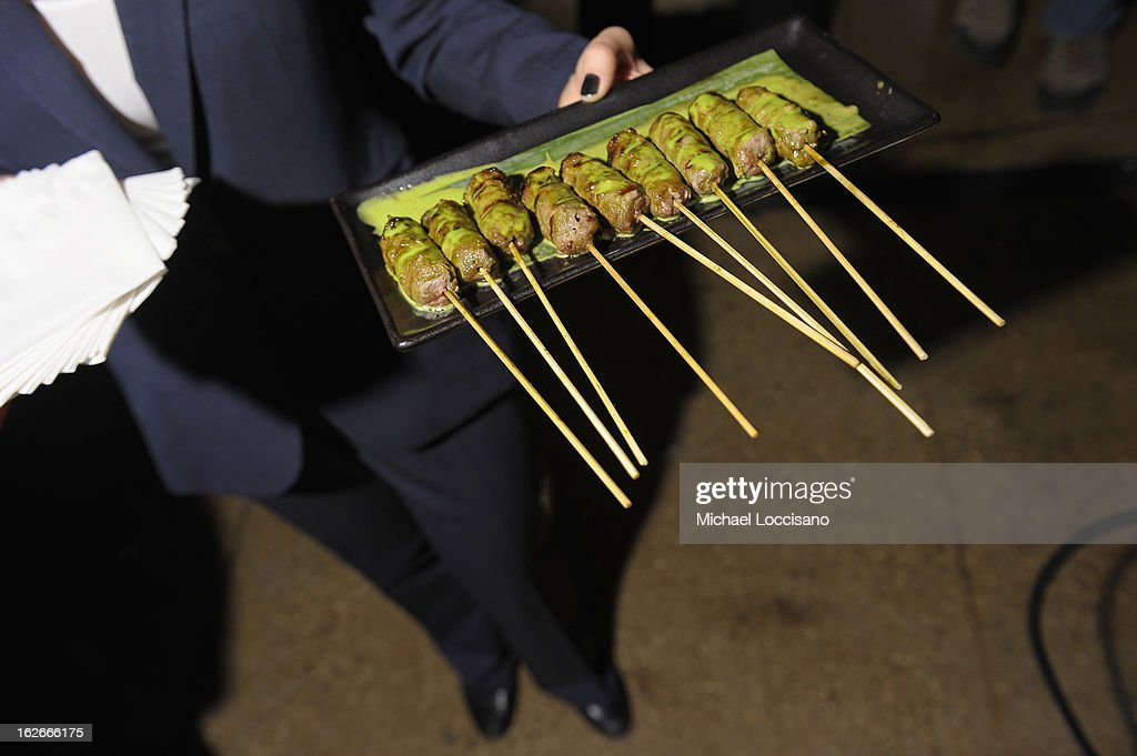 Beef skewers dipped in Thai basil sauce served during the press conference announcing the Inaugural World Street Food Congress 2013 at Spice Market on February 25, 2013 in New York City.