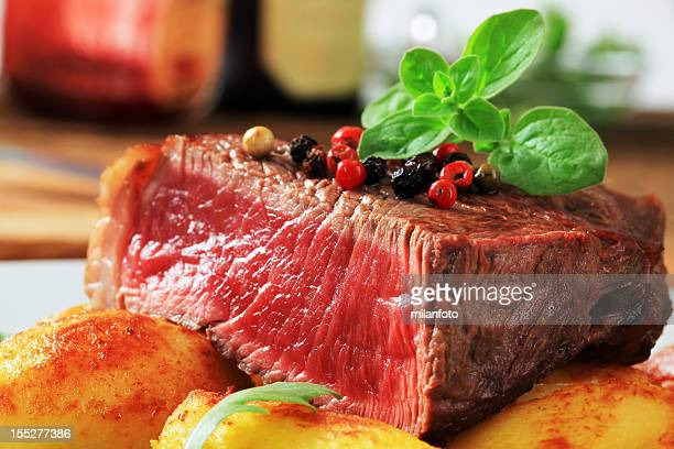 Beef steak and roasted potatoes