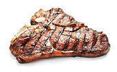 grilled t-bone beef steak isolated on white background