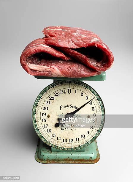 Beef Steak On Retro Kitchen Scale