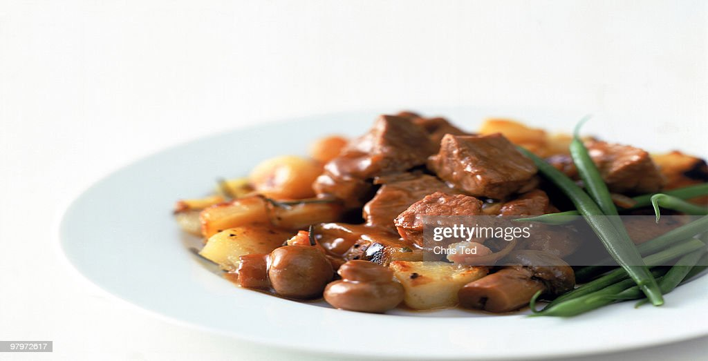 Beef Stew with Green Beans, Mushrooms and Potatoes : Stock Photo