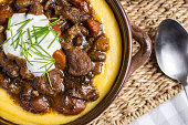 Beef Stew with Mushrooms, Carrots and Corn Polenta