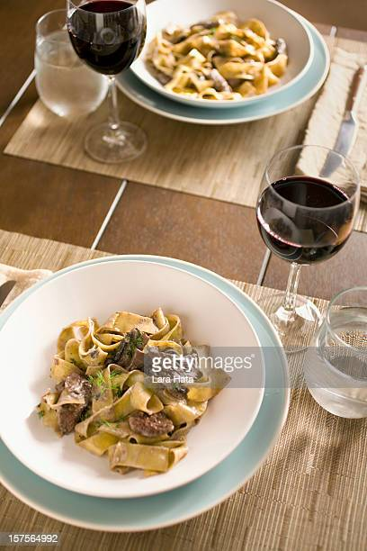 Beef stroganoff dinner for two