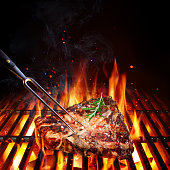Porterhouse On Grill With Flames