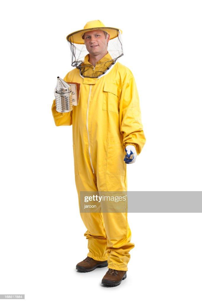 beekeeper in yellow uniform