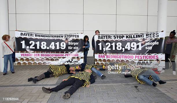 Beekeeper protest against bee poisoning by Bayer products before the Bayer general shareholders' meeting on April 29 2011 in Cologne Germany The...