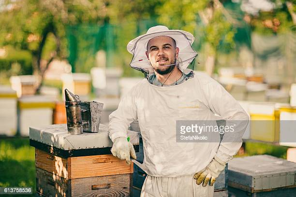 Beekeeper working with bees