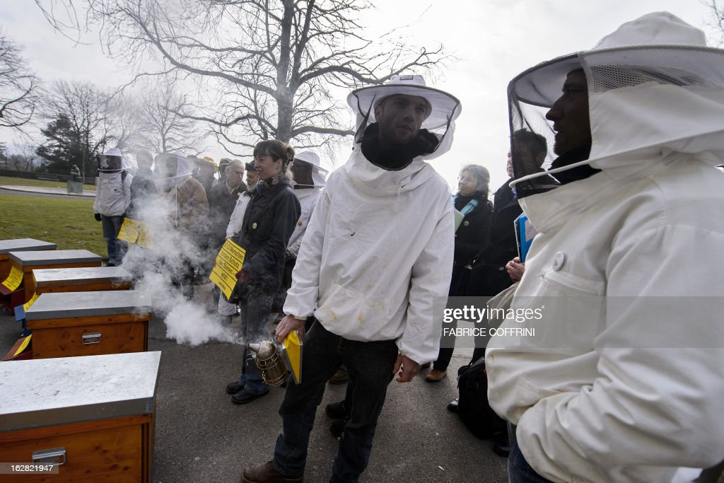 Beekeepers pose behind hives on February 28, 2013 in Bern during the delivering to the Swiss Chancellery of a 80103 signatures petition collected by Greenpeace asking the Swiss government to protect the bees and taking urgent measures against the use of pesticides harmful to bees in agriculture.