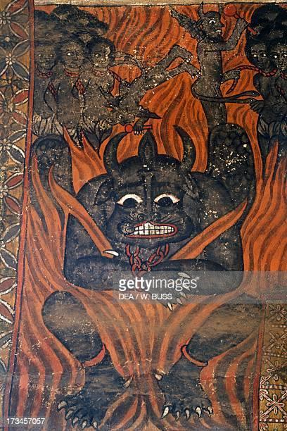 Beelzebub and the damned in hell paintings in Debre Birhan Selassie coptic Church Gondar Ethiopia