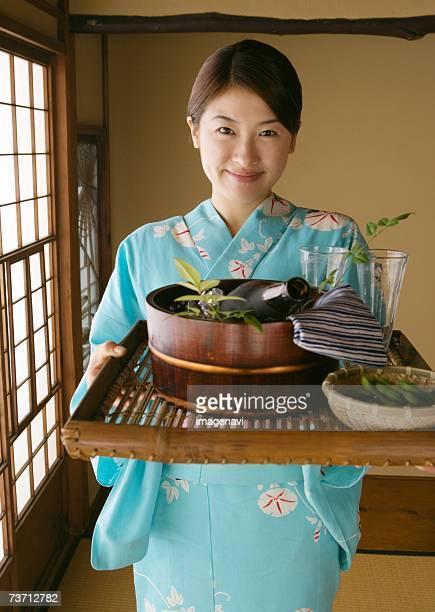 Beer and woman dressed Yukata