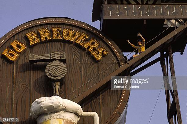 Beer Barrel Bernie of the Milwaukee Brewers during a MLB game in July 1982 in Milwaukee Wisconsin