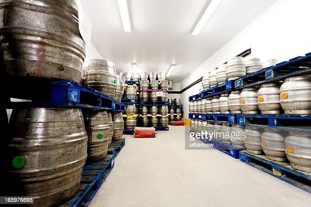 Beer barrels in a temperature controlled room
