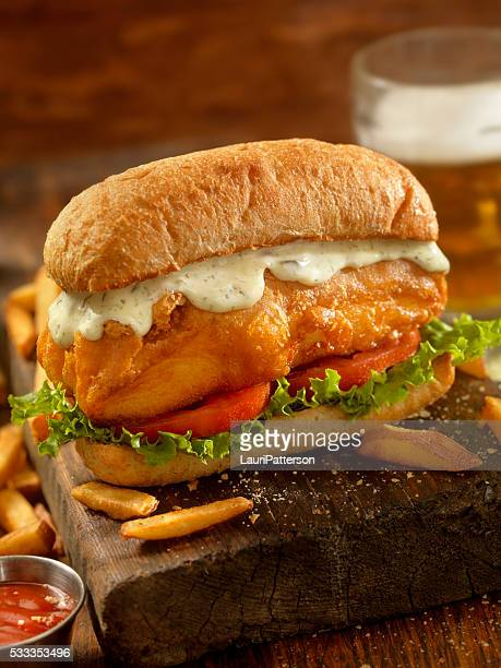 Beer Battered Fish Sandwich on a Ciabatta Bun