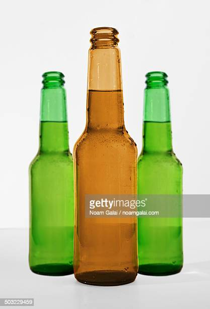 Beer bottles with beer