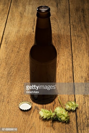 Beer bottles with fresh hops : Stock Photo