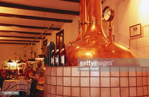 Beer brewing vats in beerhall at Gerbeaud. : Stock Photo