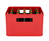 Beer crate on white background