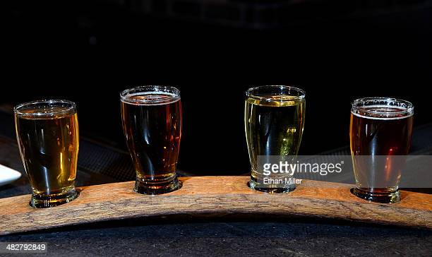A beer flight setup is displayed at a welcome event for Guy Fieri's Vegas Kitchen Bar at The Quad Resort Casino on April 4 2014 in Las Vegas Nevada...