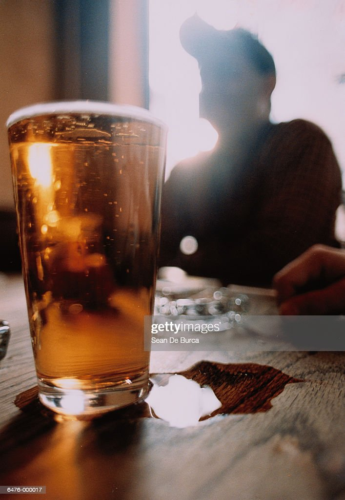 Beer Glass near Man : Stock Photo