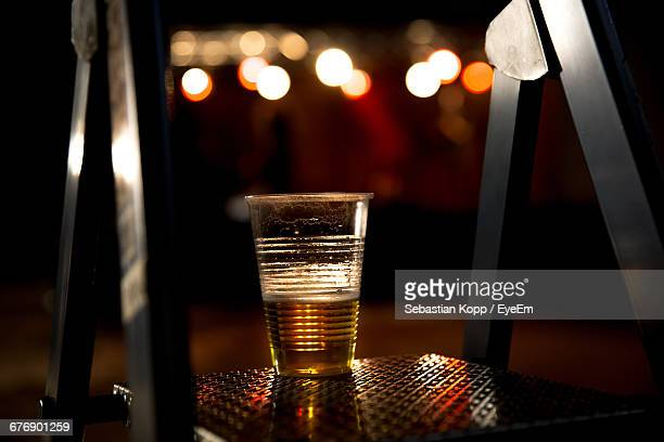Beer Glass On Ladder At Night