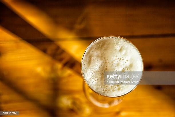 Beer in a glass, shot from above