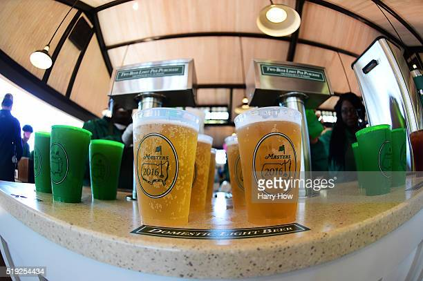 Beer is sold to patrons during a practice round prior to the start of the 2016 Masters Tournament at Augusta National Golf Club on April 5 2016 in...