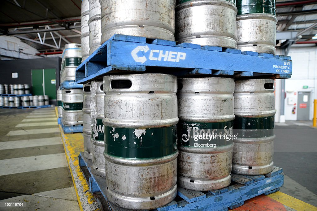 Beer kegs are stacked on CHEP Australia Ltd. pallets at the Boag's brewery, operated by Kirin Holdings Co.'s Lion unit, in Launceston, Tasmania, Australia, on Monday, Feb. 25, 2013. Australia's Bureau of Statistics is scheduled to release fourth-quarter gross domestic product figures on March 6. Photographer: Carla Gottgens/Bloomberg via Getty Images