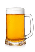 fresh beer mug with foam and bubbles isolated on white background. Light unbottled wheat beer in transparent glass mug