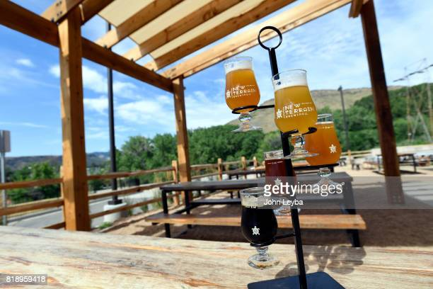Beer sampler at New Terrain Brewing on July 19 2017 in Golden Brewmaster Josh Robbins brews a Colorado IPA called Lost which is a middle ground...
