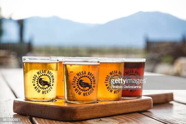 MEXICO JULY 17 2014 Beer sampler at Taos Mesa Brewing company in El Prado Taos July 17 2014 Photo to illustrate a travel story about getting off the...
