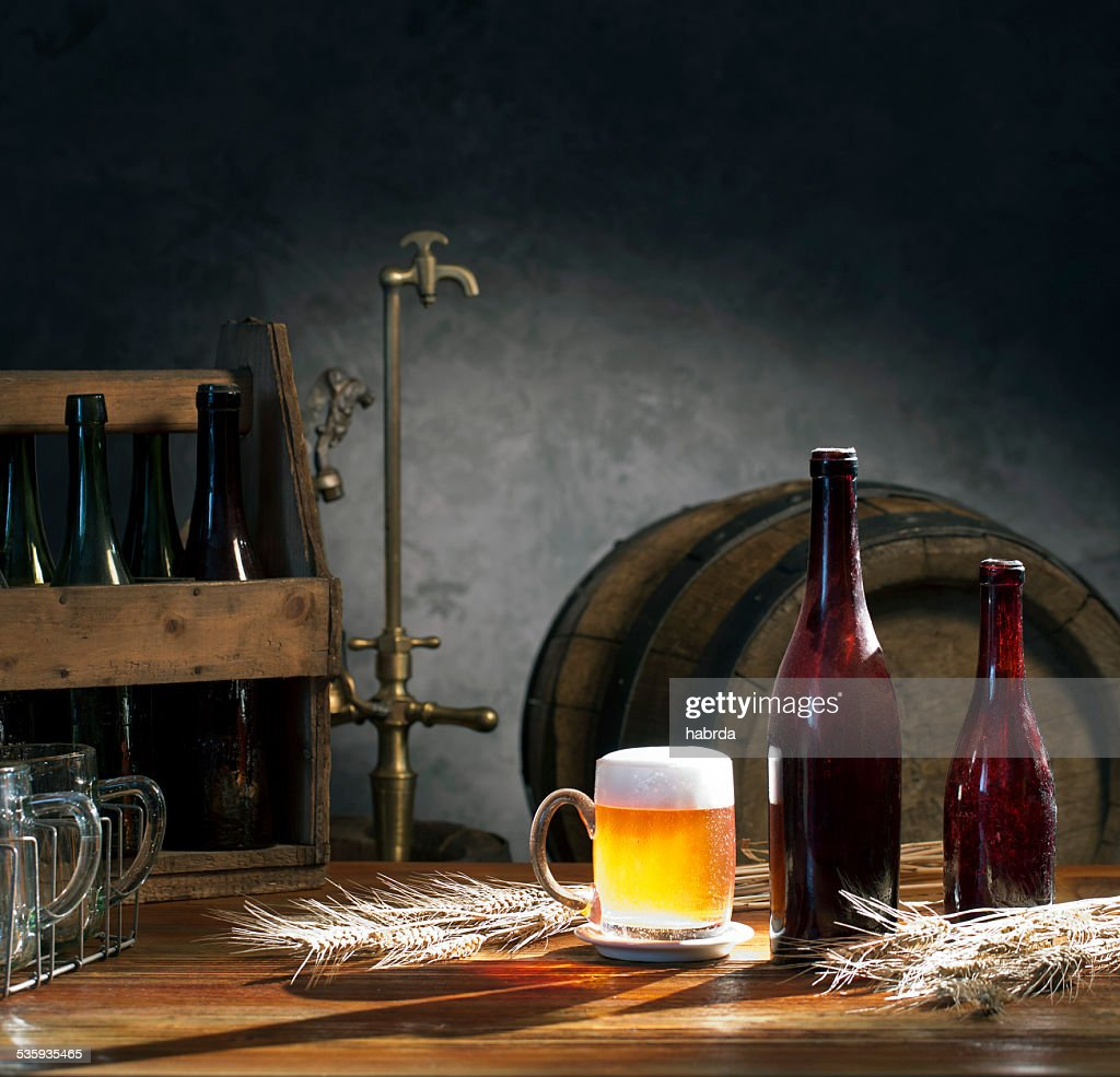 beer still life on the table : Stock Photo