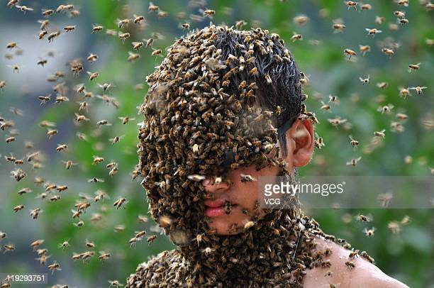 Bees swarm around Lu Kongjiang and cover the beekeepers face as he competes in a 'bee bearding' contest on July 16 2011 in Shaoyang Hunan Province of...