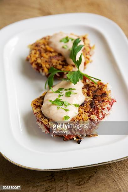 Beet patties with apple and horseradish sauce