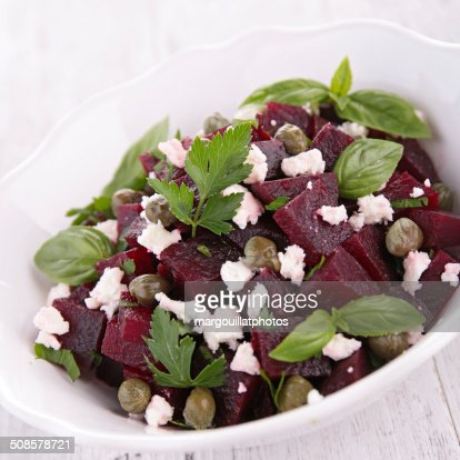 beetroot salad with cheese and basil : Stock Photo
