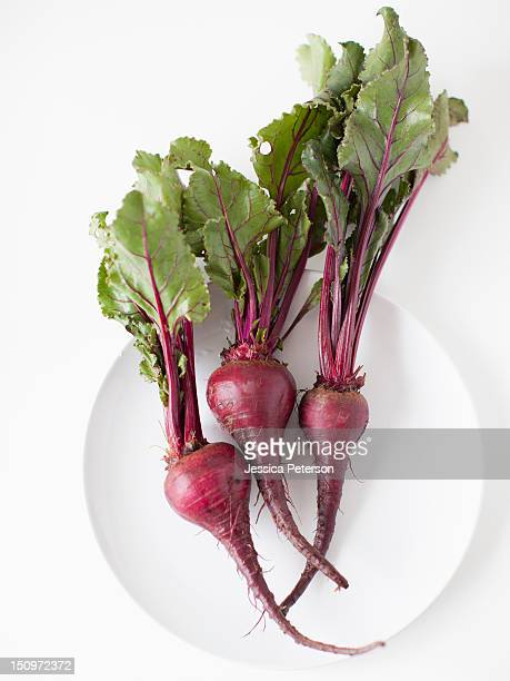 Beetroots on plate, studio shot