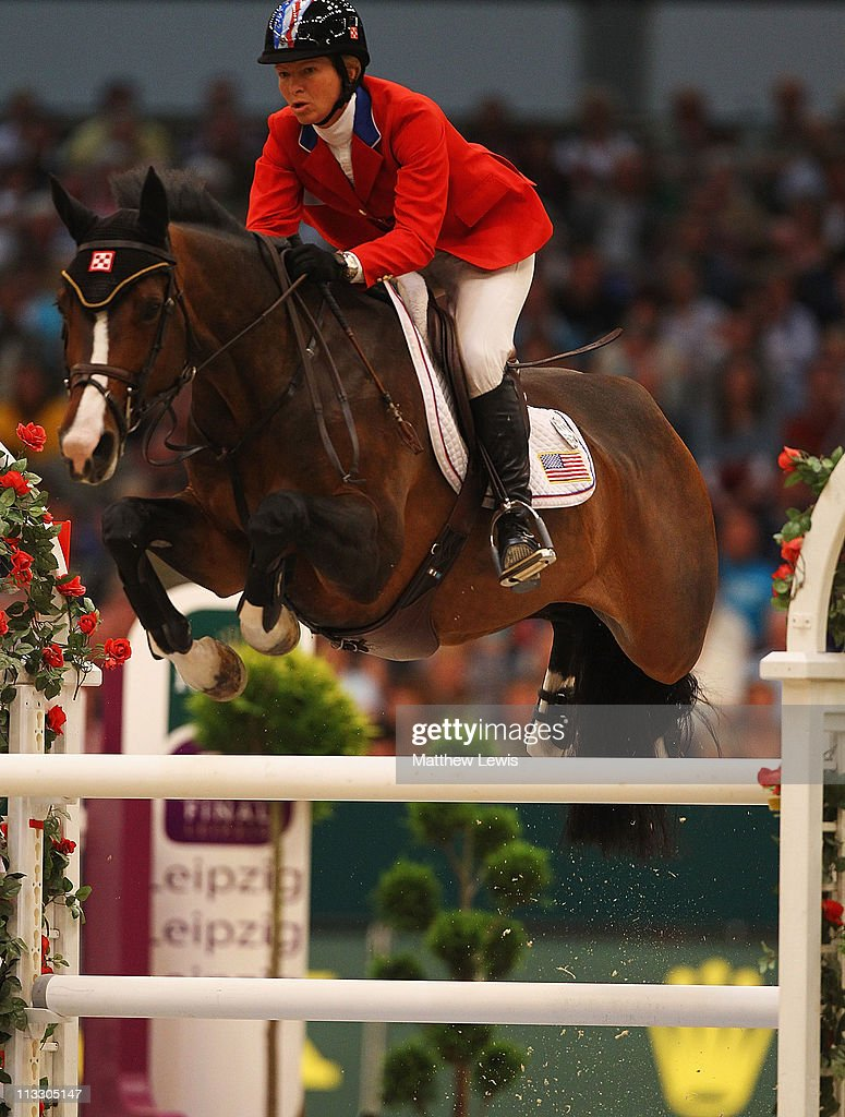 <a gi-track='captionPersonalityLinkClicked' href=/galleries/search?phrase=Beezie+Madden&family=editorial&specificpeople=628976 ng-click='$event.stopPropagation()'>Beezie Madden</a> of the United States riding Danny Boy in action during the Rolex FEI World Cup Jumping Final 2011 at the Messegelande on May 01, 2011 in Leipzig, Germany.