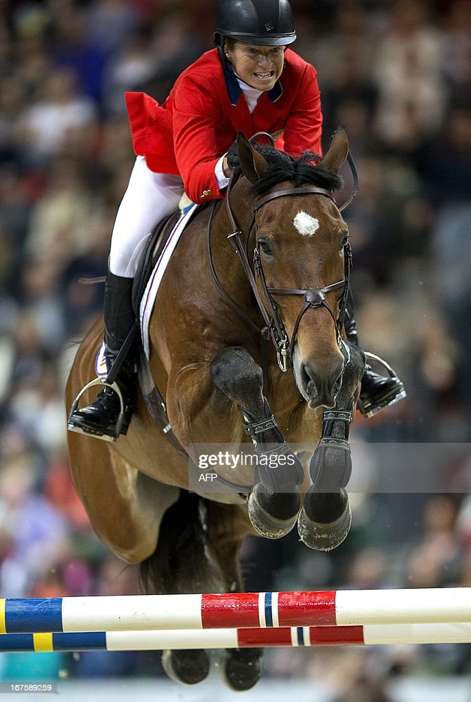 US Beezie Madden rides Simon during the Rolex FEI World Cup Jumping final on April 26, 2013 during the Gothenburg Horse Show in Scandinavium.